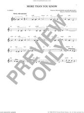 Cover icon of More Than You Know sheet music for clarinet solo by Vincent Youmans, Edward Eliscu and William Rose, intermediate skill level