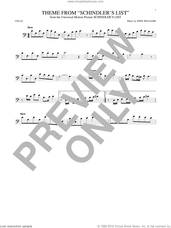 Cover icon of Theme From Schindler's List sheet music for cello solo by John Williams, intermediate skill level