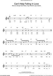 Cover icon of Can't Help Falling In Love sheet music for voice and other instruments (fake book) by UB40, George David Weiss, Hugo Peretti and Luigi Creatore, intermediate skill level