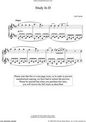 Cover icon of Study In D sheet music for piano solo by Carl Czerny, classical score, easy skill level