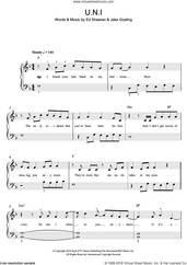 Cover icon of U.N.I sheet music for piano solo (beginners) by Ed Sheeran and Jake Gosling, beginner piano (beginners)
