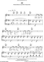 Cover icon of 22 sheet music for voice, piano or guitar by Lily Allen and Greg Kurstin, intermediate skill level