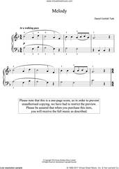 Cover icon of Melody sheet music for piano solo by Daniel Gottlob Türk and Daniel Gottlob Turk, classical score, easy skill level
