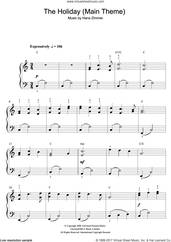 Cover icon of The Holiday (Main Theme) sheet music for piano solo (beginners) by Hans Zimmer, beginner piano (beginners)
