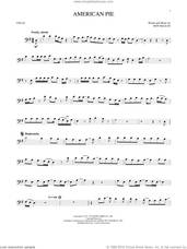Cover icon of American Pie sheet music for cello solo by Don McLean, intermediate skill level