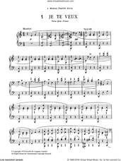 Cover icon of Je Te Veux sheet music for piano solo by Erik Satie, classical score, intermediate skill level
