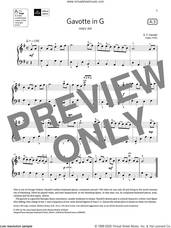Cover icon of Gavotte in G (Grade 3, list A3, from the ABRSM Piano Syllabus 2021 and 2022) sheet music for piano solo by George Frideric Handel, classical score, intermediate skill level
