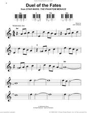 Cover icon of Duel Of The Fates (from Star Wars: The Phantom Menace) sheet music for piano solo by John Williams, beginner skill level