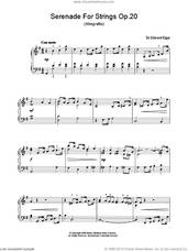 Cover icon of Serenade For Strings Op.20 (Allegretto) sheet music for piano solo by Edward Elgar, classical score, easy skill level