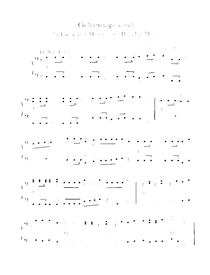 Birthday March sheet music for piano four hands by Robert Schumann, classical score, easy skill level