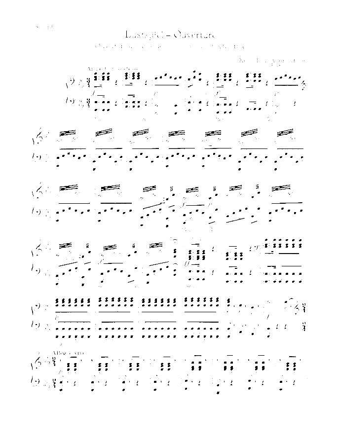 Comedy Overture sheet music for piano four hands by Bela Keler, classical score, easy/intermediate skill level