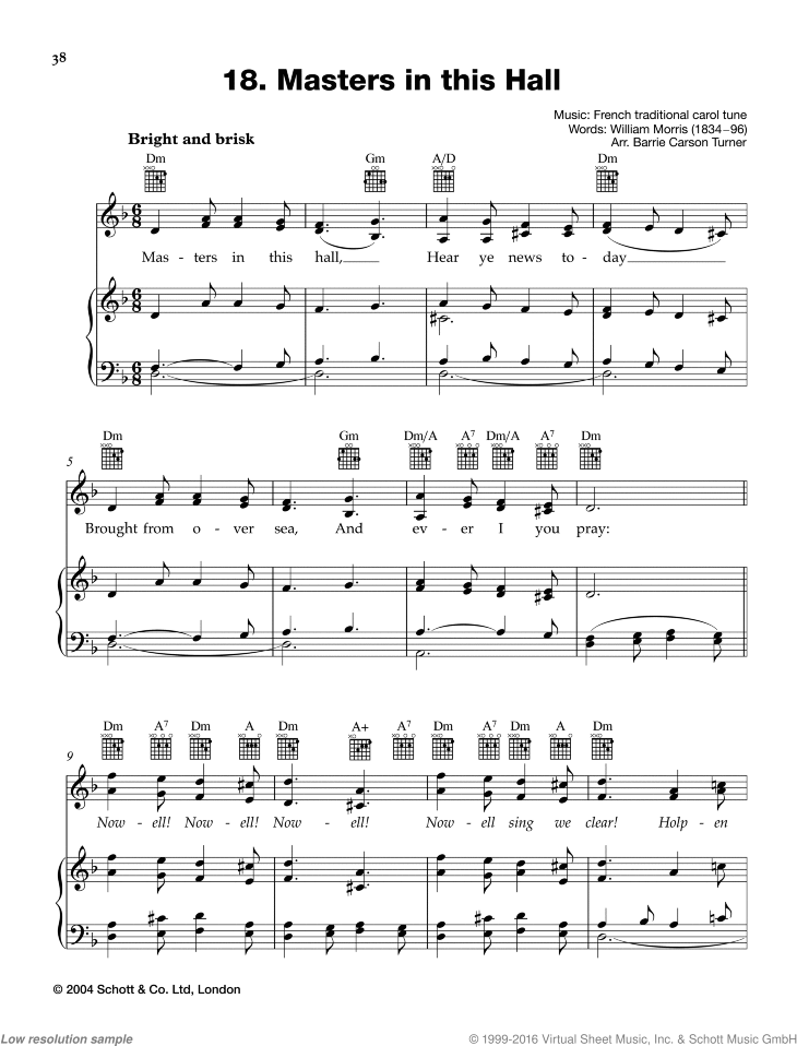 Masters in this Hall sheet music for piano and voice, guitar ad lib. by Best of Christmas Carols, easy skill level