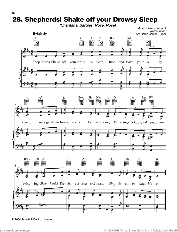 Shepherds! Shake off your Drowsy Sleep sheet music for piano and voice, guitar ad lib. by Best of Christmas Carols, easy skill level