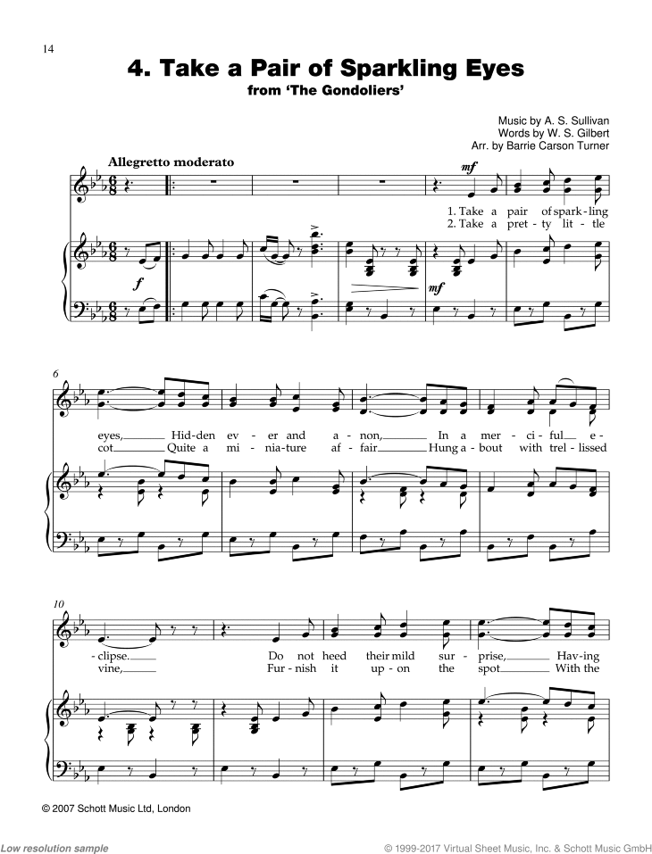 Take a Pair of Sparkling Eyes sheet music for piano and voice by Sir Arthur Seymour Sullivan, classical score, easy skill level