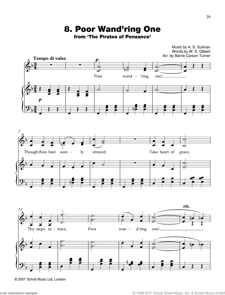 Poor Wand'ring One sheet music for piano and voice by Sir Arthur Seymour Sullivan, classical score, easy skill level