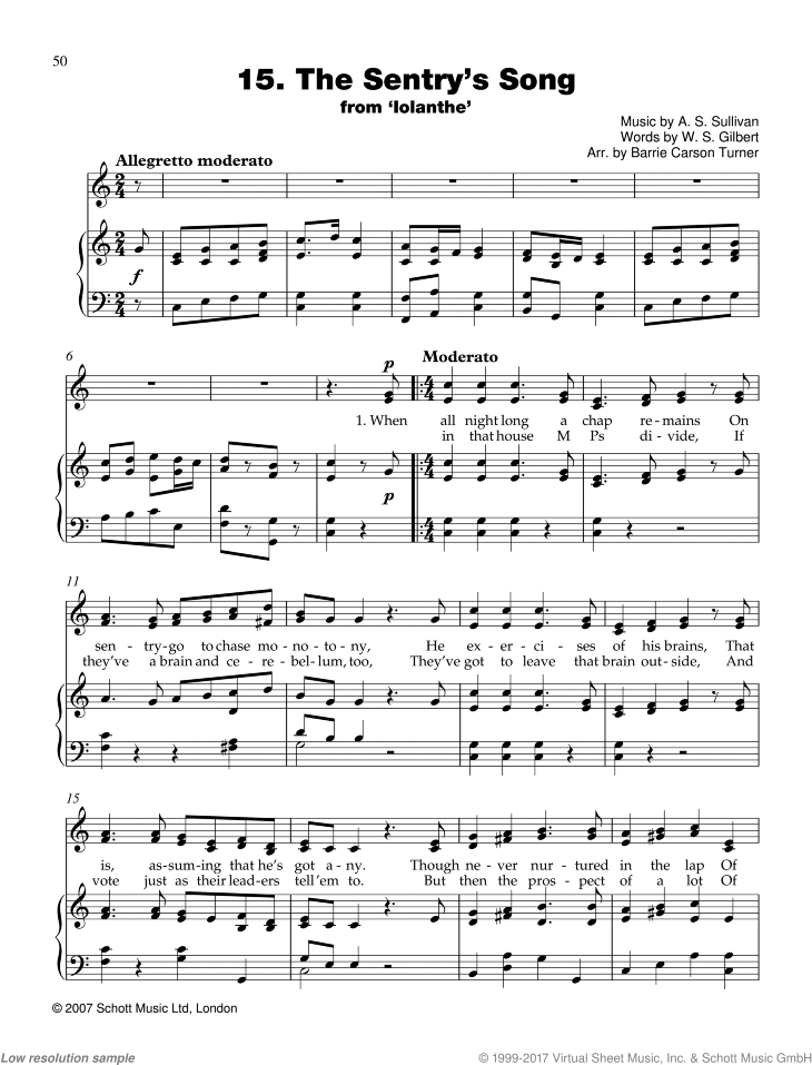 The Sentry's Song sheet music for piano and voice by Sir Arthur Seymour Sullivan, classical score, easy skill level