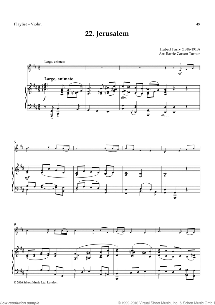 Jerusalem sheet music for violin and piano by Hubert Parry, classical score, easy skill level