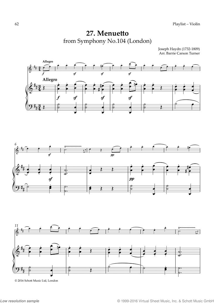 Menuetto sheet music for violin and piano by Franz Joseph Haydn, classical score, easy skill level