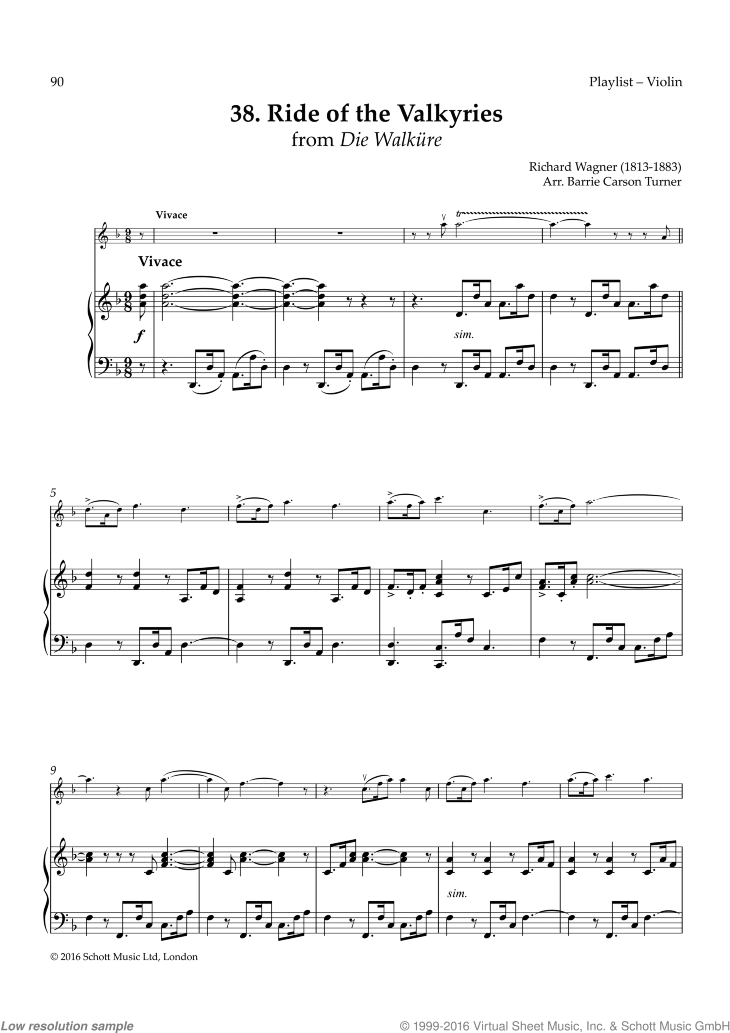 Ride of Valkyries sheet music for violin and piano by Richard Wagner, classical score, easy skill level