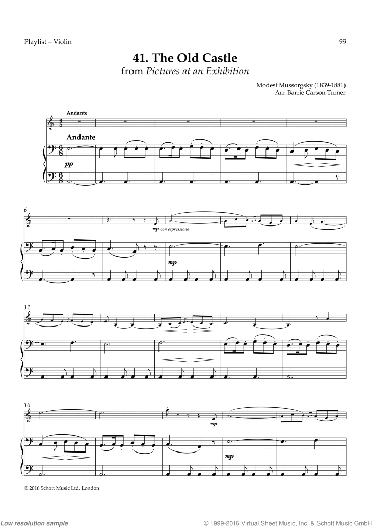 The Old Castle sheet music for violin and piano by Modest Petrovic Mussorgsky, classical score, easy skill level