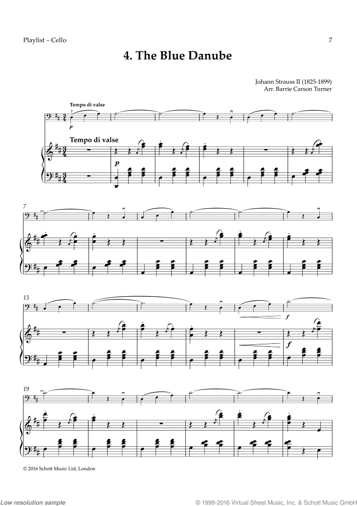 The Blue Danube sheet music for cello and piano by Johann Strauss, classical score, easy skill level