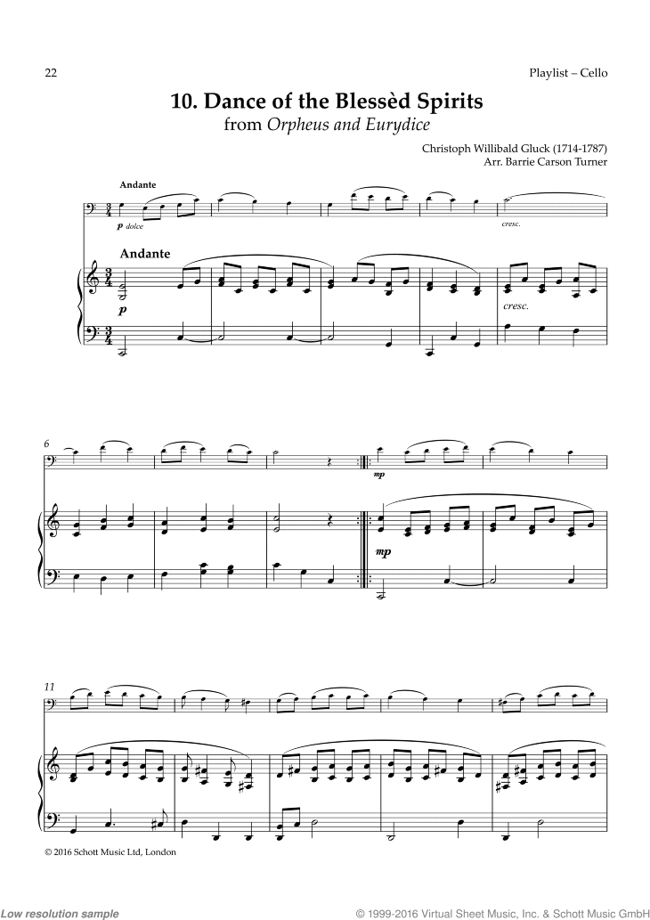 Dance of the Blessed Spirits sheet music for cello and piano by Christoph Willibald Gluck, classical score, easy skill level