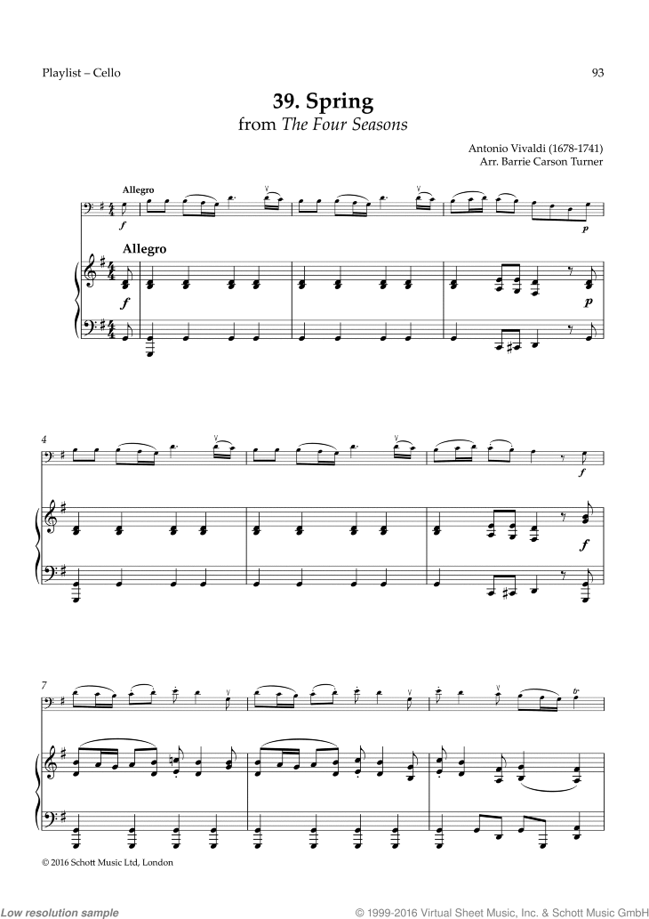 Spring sheet music for cello and piano by Antonio Vivaldi, classical score, easy skill level