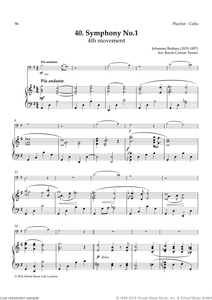 Symphony No. 1 sheet music for cello and piano by Johannes Brahms, classical score, easy skill level