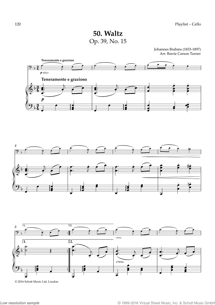 Waltz in A-flat sheet music for cello and piano by Johannes Brahms, classical score, easy skill level