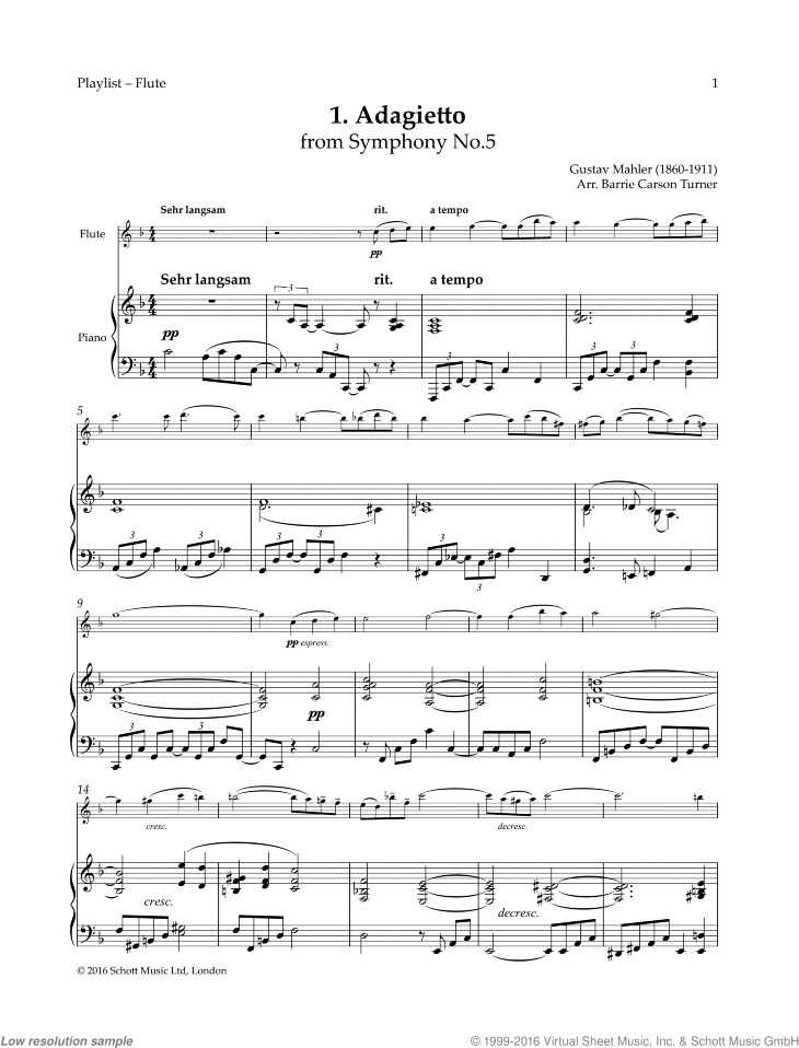 Adagietto sheet music for flute and piano by Gustav Mahler, classical score, easy skill level