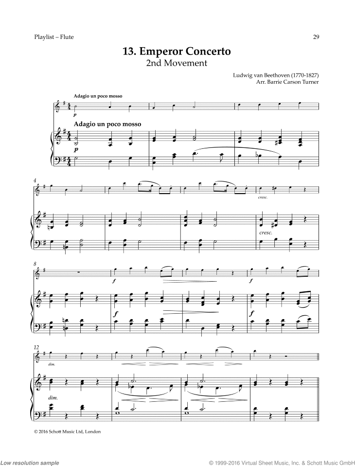 Emperor Concerto sheet music for flute and piano by Ludwig van Beethoven, classical score, easy skill level