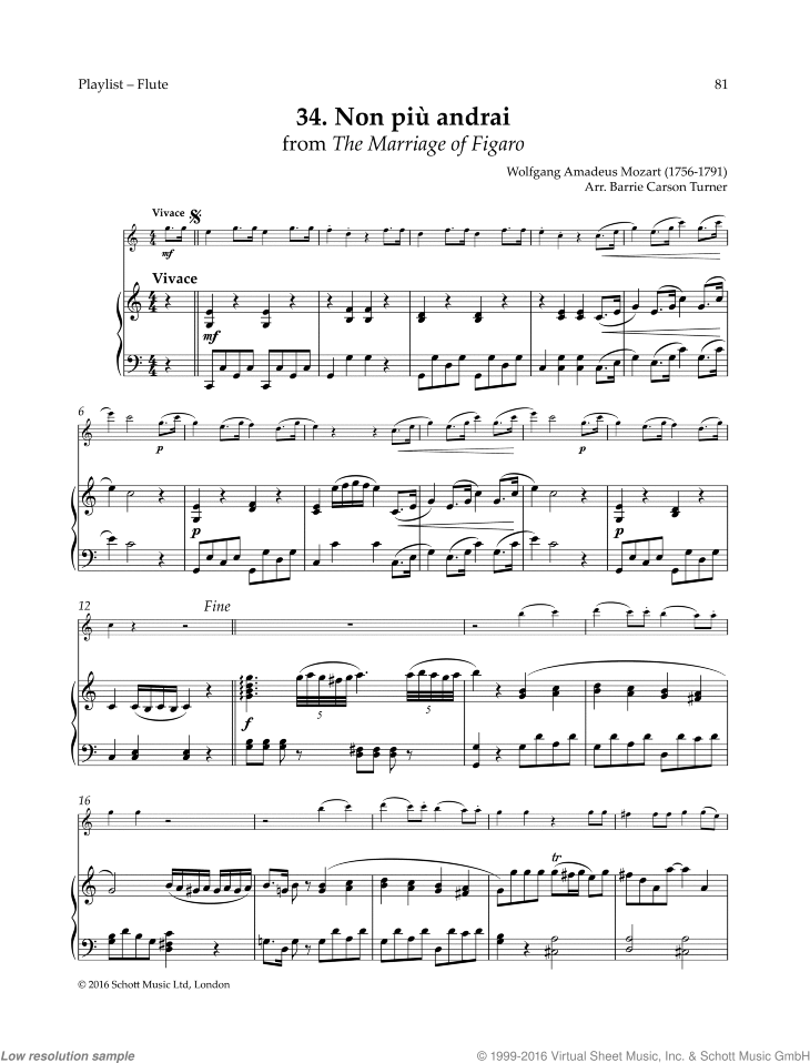 Non piu andrai sheet music for flute and piano by Wolfgang Amadeus Mozart, classical score, easy skill level