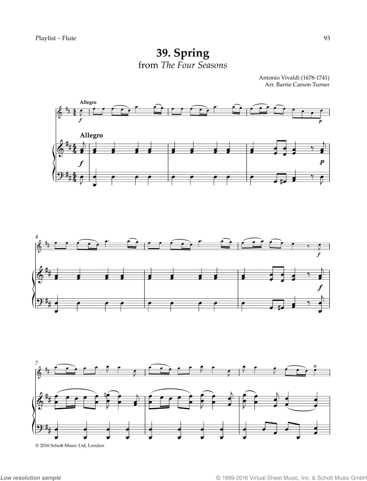 Vivaldi Spring From The Four Seasons Sheet Music For Flute And Piano