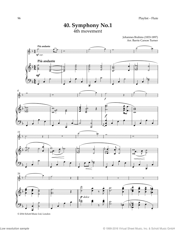 Symphony No. 1 sheet music for flute and piano by Johannes Brahms, classical score, easy skill level
