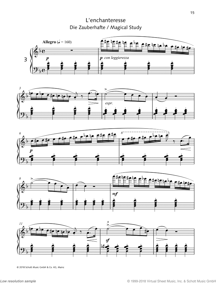 Magical Study sheet music for piano solo by Friedrich Johann Franz Burgmuller, classical score, intermediate/advanced skill level