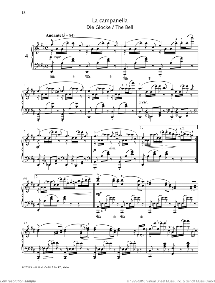 The Bell sheet music for piano solo by Friedrich Johann Franz Burgmuller, classical score, intermediate/advanced skill level