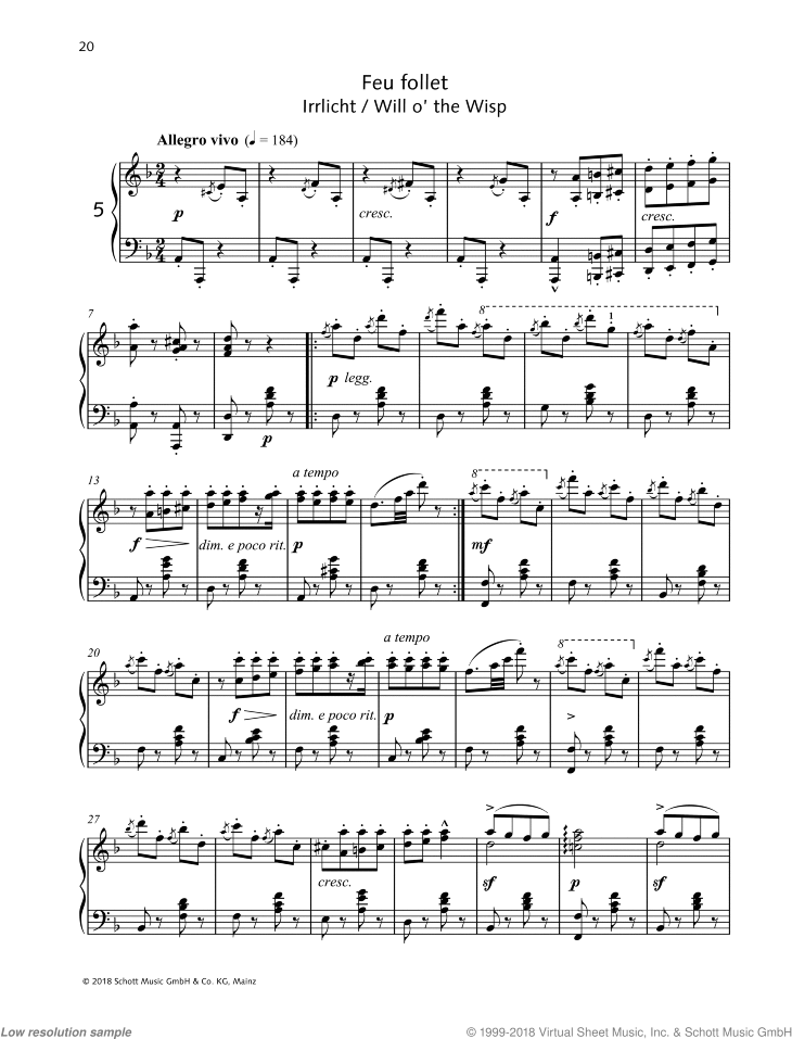 Will o' the Wisp sheet music for piano solo by Friedrich Johann Franz Burgmuller, classical score, intermediate/advanced skill level