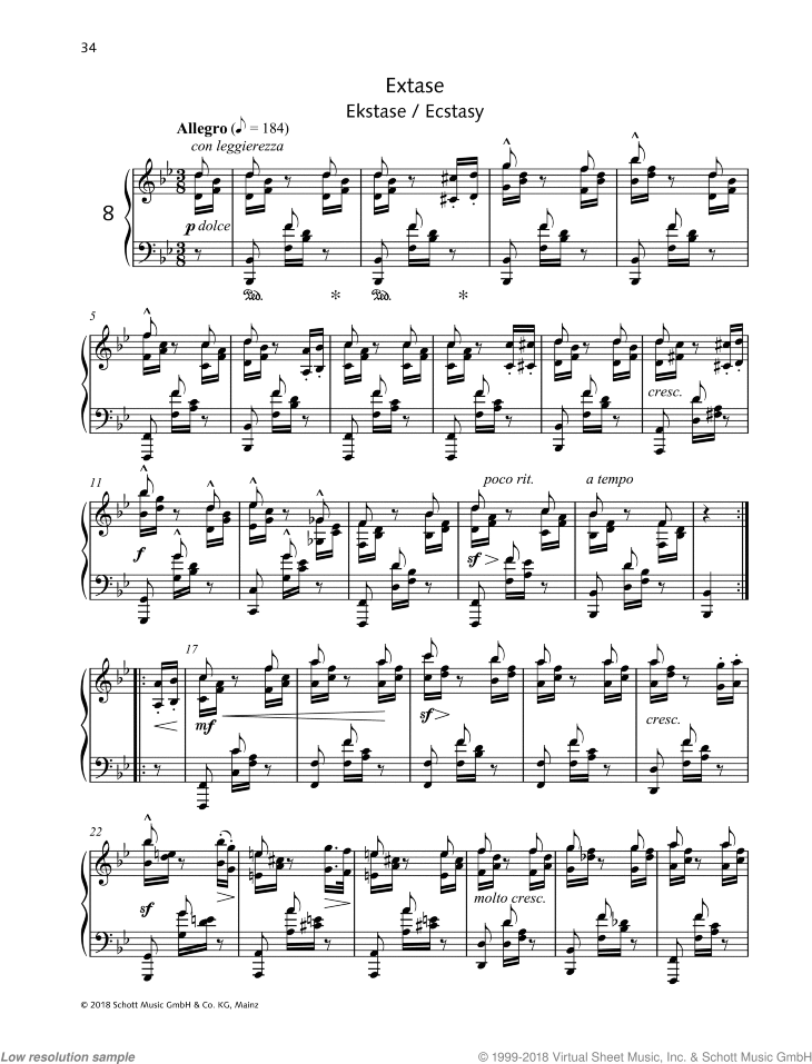 Ecstasy sheet music for piano solo by Friedrich Johann Franz Burgmuller, classical score, intermediate/advanced skill level
