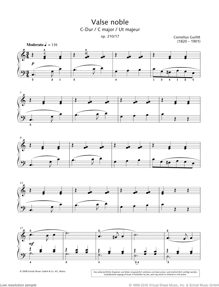 Valse noble in C major sheet music for piano solo by Cornelius Gurlitt, classical score, easy/intermediate skill level