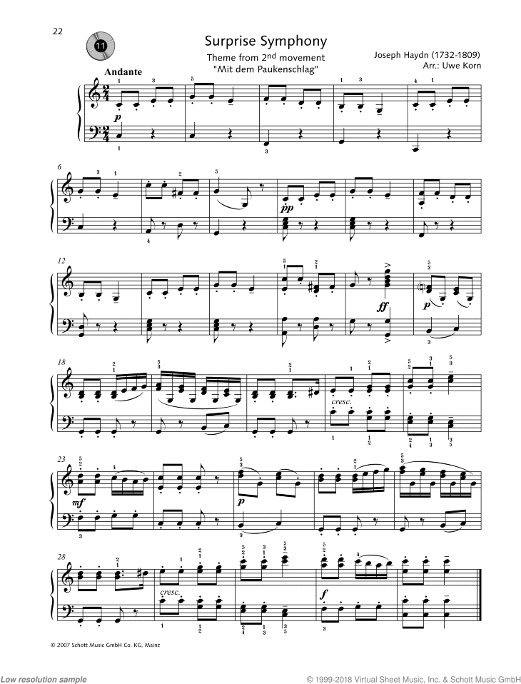 Surprise Symphony - Theme from 2nd movement sheet music for piano solo by Franz Joseph Haydn, easy/intermediate skill level