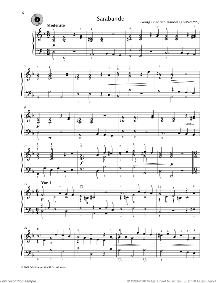 Sarabande - from Suite in D Minor sheet music for piano solo by George Frideric Handel, easy/intermediate skill level