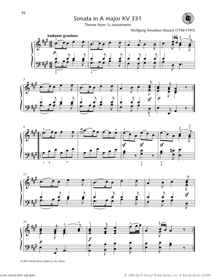 Sonata in A major sheet music for piano solo by Wolfgang Amadeus Mozart, easy/intermediate skill level
