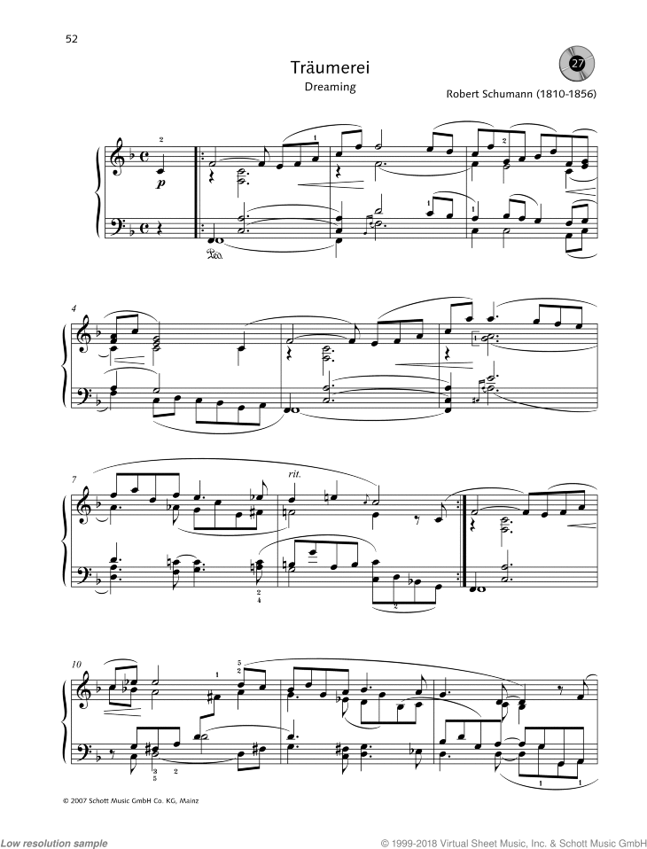 Traumerei (Dreaming) sheet music for piano solo by Robert Schumann, easy/intermediate skill level