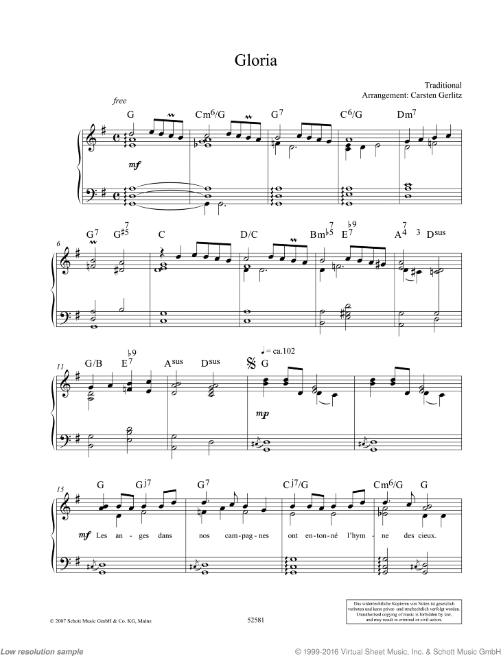 Gloria sheet music for piano solo by Traditional, classical score, easy/intermediate skill level