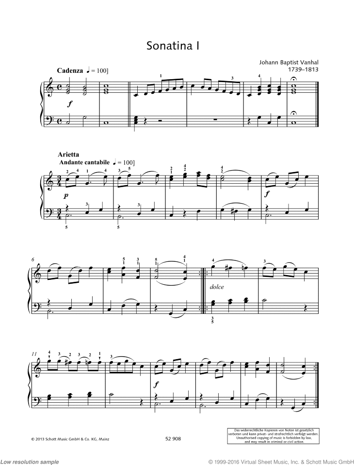 Sonatina I sheet music for piano solo by Johann Baptist Vanhal, classical score, easy/intermediate skill level