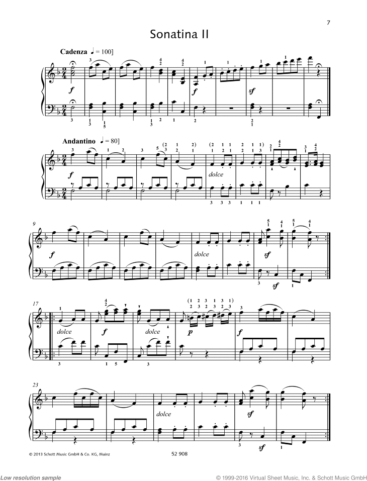 Sonatina II sheet music for piano solo by Johann Baptist Vanhal, classical score, easy/intermediate skill level