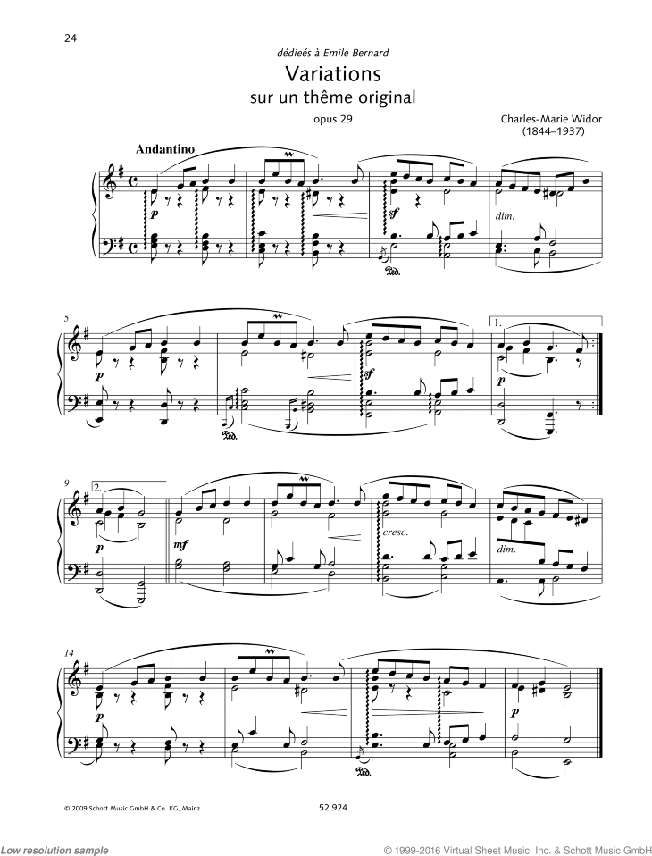 Variations sur un theme original sheet music for piano solo by Charles Marie Widor, classical score, intermediate/advanced skill level