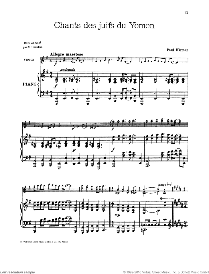 Chants des juifs du Yemen sheet music for violin and piano by Paul Kirman, classical score, intermediate/advanced skill level