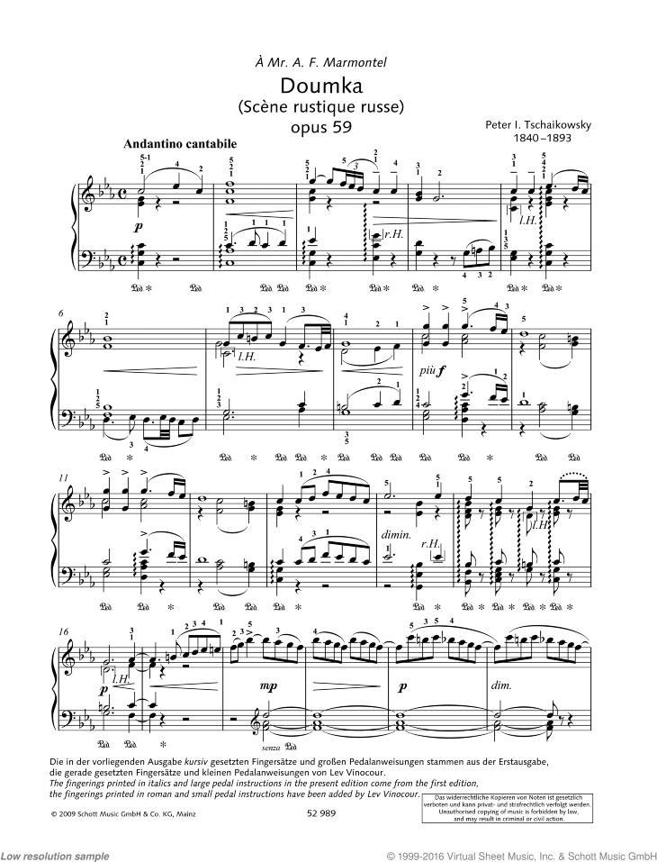 Doumka sheet music for piano solo by Pyotr Ilyich Tchaikovsky, classical score, advanced skill level