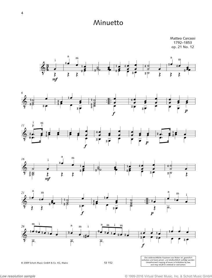 Minuetto sheet music for guitar solo by Matteo Carcassi, classical score, easy/intermediate skill level